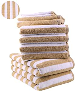 10 tlg. Handtuch Set STREIFEN Farbe Beige 100% Baumwolle 2 Duschtücher 4 Handtücher 2 Gästetücher 2 Waschhandschuhe