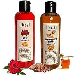 Khadi Natural Herbal Rose Face Wash 200ml + Khadi Natural Herbal SANDALWOOD & HONEY Face wash 200ml