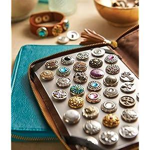 AKKi jewelry Petite 12mm Click Button Set Angebot mit 8 gemischte Druckknöpfe und 1 Accessoires Armband kompatibel mit Chunks Amsterdam Silber Damen Kette zirkonia Schmuck
