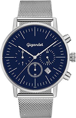 Gigandet Minimalism II G22-005–Reloj de cuarzo para hombre, analógico, con doble horario, fecha, correa de acero inoxidable, color plataeado y aul