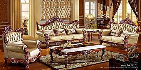 MA xiaoying et en cuir véritable de luxe, Collection classique Lot de 3: Chaise, causeuse & Canapé, cadre en bois massif sculpté à la main, Marron par Ma
