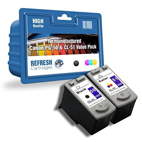 Doppelpack PG-50/CL-51 Schwarz 0616B001/Dreifarbig 0618B001 Wiederaufgefüllt HOHE KAPAZITÄT Patronen für die verwendung mit Canon Pixma iP2200,MP150,MP160,MP170,MP180,MP450,MP460,MX300,MX310 Drucker
