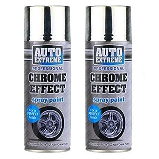 2 X 400ml (14 floz) Chrome Effect Spray Paint Quality Mirror Finish Auto Car DIY