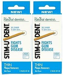 Natural Dentist Stim-u-dent Thin Plaque Removers, Mint - 160 Ea, 3 Pack