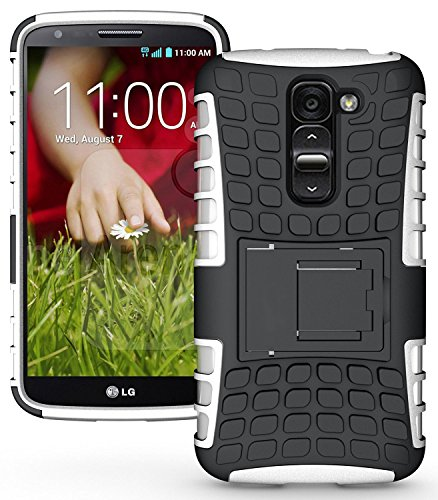 Heartly Flip Kick Stand Hard Dual Armor Hybrid Bumper Back Case Cover For LG G2 Mini D618 - White