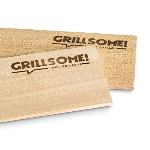 51aznYNL kL - 10 Räucherbretter aus kanadischem Zedernholz (30 x 14 x 0,8 cm) von Grillsome! Grillbretter, Grill-Planken 10er-Set (2 x 5er Set glatte und raue Oberfläche) unbehandelt, Grillzubehör für BBQ