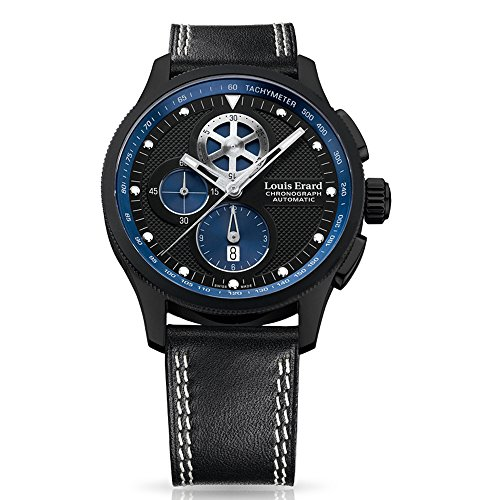 LOUIS ERARD 78229NN02BDC89 GENTS BLACK CALFSKIN 44MM AUTOMATIC CHRONOGRAPH WATCH