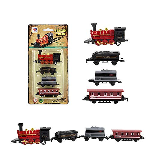 DOLDOA Kids Boys New Classical Alloy Retro Simulated Joint Power Storage Steam Train Model Kid Child Toys Gifts,Sale (Red)