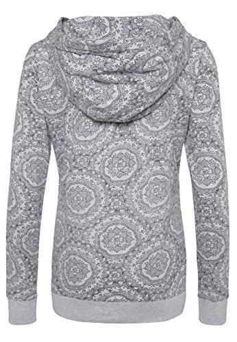 SUBLEVEL Damen Kapuzen Longsleeve mit Mandala Allover-Print   Sportliches Langarm-Shirt Dark-Grey