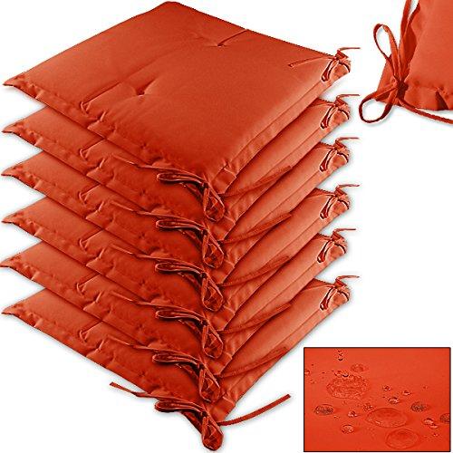 Detex Stuhlauflagen  6er Set  Wasserabweisend  Leinenoptik - Kissen Sitzkissen Stuhlkissen Hochlehner Auflage Sitzauflage Boston - Farbauswahl - Orange