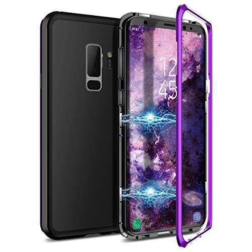 CE-Link Kompatibel mit Samsung Galaxy S9 Plus Hülle Glas mit Magnetisch Panzerglas Rückseite Durchsichtig Handyhülle Transparent Hard Case Ultra Slim Dünn 360 Grad Full Body - Lila + Schwarz