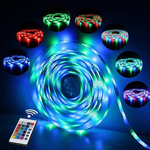 LED Streifen Licht, LED Stripes LED Bänder RGB IP65 | 5m 300 LEDs 24-Tasten Fernbedienung, Farbwechsel, selbstklebend, Schrank, Terrasse, Balkon, Party und Haus Deko