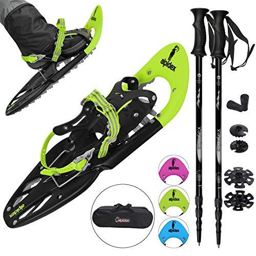 ALPIDEX Schneeschuhe 25 INCH für Schuhgröße 38-45, bis 130 kg, mit Double-Traction Bindung und inklusive Tragetasche - wahlweise mit oder ohne Stöcke erhältlich, Farbe:Lime mit Stöcken