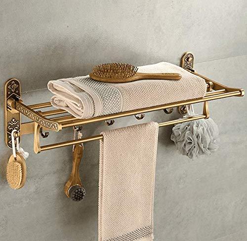 Gäste-handtuchhalter Antik (Hagyh Faltbare Messing Antik Badewanne Handtuchhalter Aktiv Bad Handtuchhalter Doppel Handtuch Regal Mit Haken Badezimmer Zubehör)