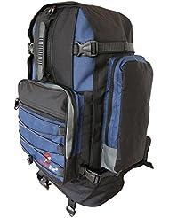 Großer Frontlader Backpacker Camping Rucksack - 50 bis 55 Liter L Volumen – Flugzeug Handgepäck geeignet - für Backpacking, Festival, Reise, Outdoor und Wandern - Roamlite RL55M (Schwarz Blau)