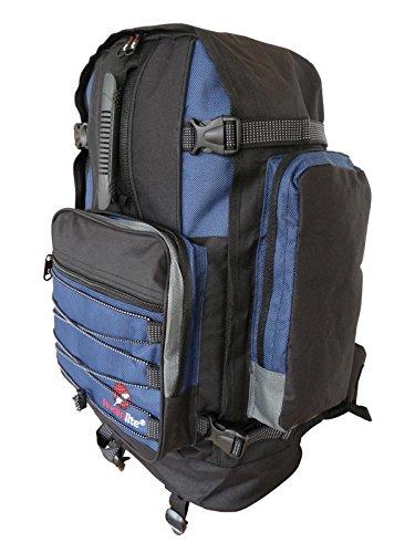 Roamlite zaino da campeggio grande unisex- 50 a 55 litri ideale come bagaglio a mano. perfetto per escursionismo,viaggio e vacanze. dotato di varie tasche e scomparti. colore nero blu