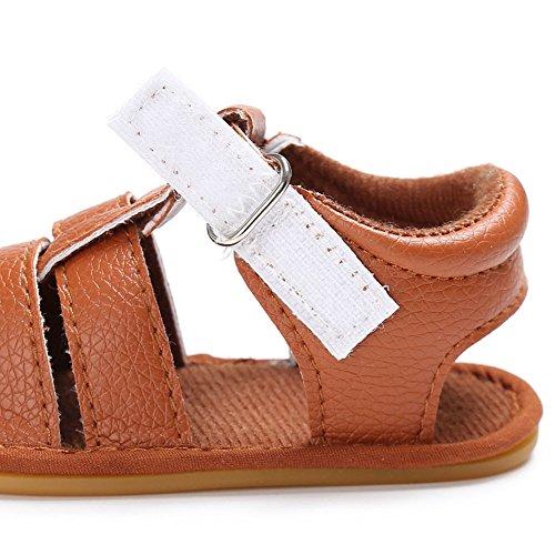 Juleya I neonati dei neonati scaricano i primi sandali antisdrucciolevoli del cuoio molle di camminata del piede nero 6-12M Marrone