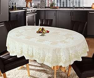 Katwa Clasic - 54 x 78 (Oval) Rose Lace Vinyl Tablecloth (Lemon)