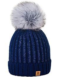 MFAZ Morefaz Ltd Niña Sombrero De Invierno Beanie Hat Niños Chicas Gran Pom  Pom Gorro De 5fa64c8d555