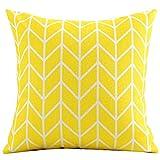 POPRY Gelb Rot Baumwolle Kissen geometrische Muster, einfache und moderne Wohnzimmer Sofa Kissen 45 X 45 Cm Kissenbezug Kissen CoreCotton gelbe Leiter