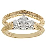 Naava Women's 9 ct Yellow Gold Pave Set Round Brilliant Cut 0.20 ct Diamond Bridal Set Ring