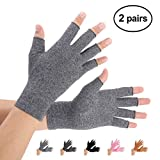 Brace Master Arthritis Gloves 2 Pairs, Compression Gloves Support and Warmth for Hands