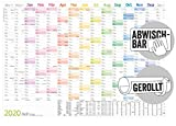 Abwischbarer Wandkalender 2020 groß: 89 cm x 63 cm (größer als A1), gerollt | 15 Monate: Nov 2019 - Jan 2021 [Rainbow] Wandplaner mit Ferien- und Feiertage-Übersicht, FSC-Papier