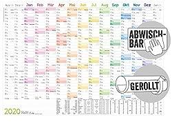 250g//m2 Wandkalender//Jahresplaner 2019 mit Ferien A1 grau 84,0 x 59,4 cm gerollt