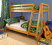 Triple Wooden Pine Bunk Bed 3ft & 4ft in Caramel finish with 2 Mattresses