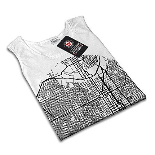 Philadelphia Stadt Mode Stadt Karte Damen Schwarz S-2XL Muskelshirt | Wellcoda Weiß