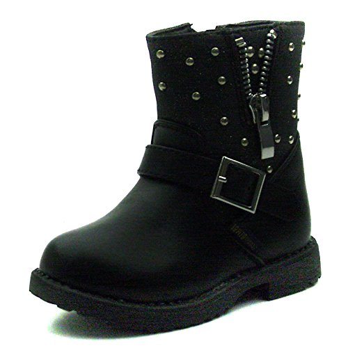 SB173 Studio BIMBI Girls Mid Calf Baby Boots w/zip in Black Taglia 24