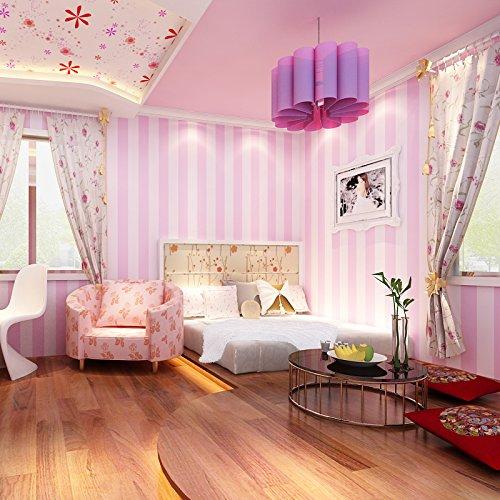 LXPAGTZ Moderne und einfache vertikale Streifen Tapete rosa Prinzessin Zimmer Schlafzimmer Kinderzimmer warme Mädchen lange 9,5m * breite 0,53m Vlies Tapete (5 m ²), hellrosa