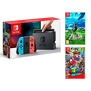 Nintendo Switch Konsole 32Gb Neon Rot/Neon-Blau + Super Mario Odyssey + Zelda: Breath of the wild – MEGAPACK
