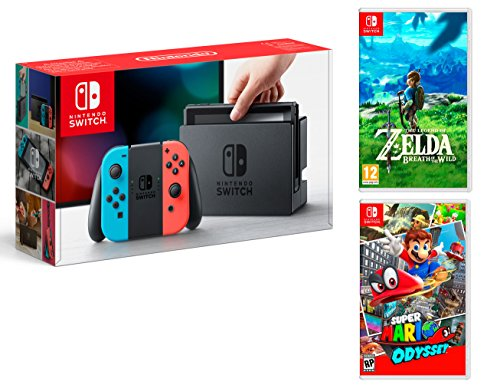 Nintendo Switch console Rouge/Bleu Néon 32Go + Super Mario Odyssey + Zelda: Breath of the wild - MEGAPACK