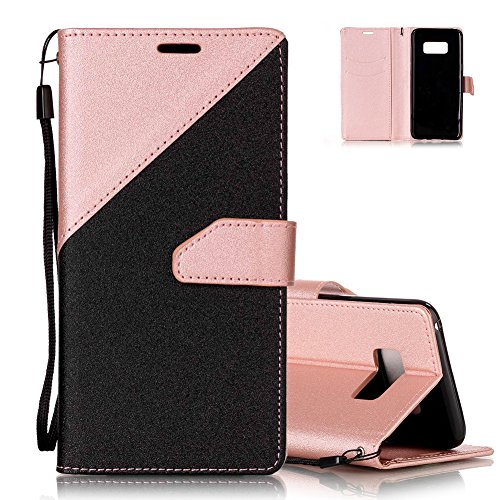 S8 plus Brieftasche, Galaxy S8 plus Flip Case Cover, Aeeque® [Schwarz Rosegold Spleiß Stil] Kartenfach Standfunktion Handytasche für Samsung Galaxy S8 plus mit Abnehmbar Handy Lanyard und Weich Silikon Innere Bumper