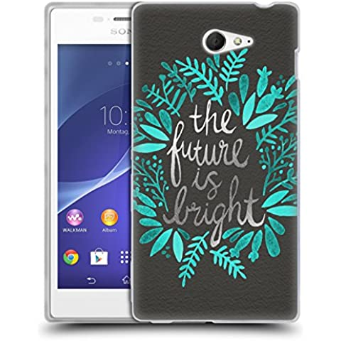 Official Cat Coquillette Future is Bright Charcoal Quotes Typography 1 Soft Gel Case for Sony Xperia