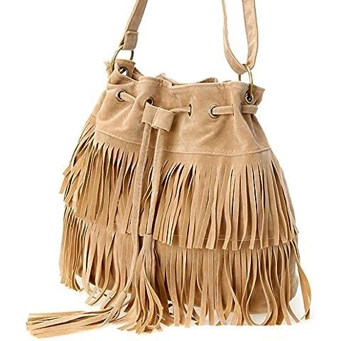 FunYoung Bolsos de hombro de la vendimia bandolera con flecos con borlas bolsa de mensajero de la borla de las señoras del bolso del bolso del color de