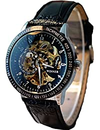 Malloom® Hombres Hollow Esqueleto automático mecánica Acero inoxidable reloj de pulsera