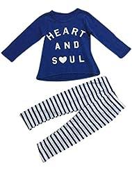Vovotrade impresión de la letra camiseta de las tapas de chicas +Pantalones largos a rayas