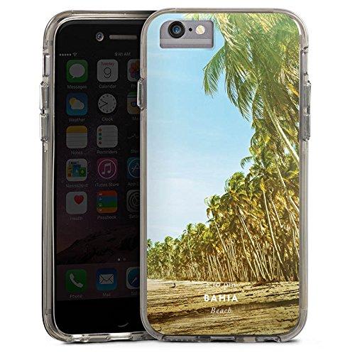 Apple iPhone 7 Plus Bumper Hülle Bumper Case Glitzer Hülle Palmen Urlaub Strand Bumper Case transparent grau