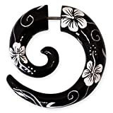 Fly Style - 1 Stück - Fake Piercing Spirale - Hibiskus Blüten, Farbwahl:schwarz/weiß