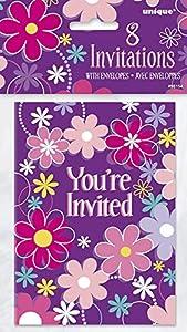 Unique Party 98154Flores de cumpleaños fiesta invitaciones (8unidades)