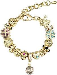 95b9ce1b0e71 Relojes Mujer MANBARA Oro 18k Cristal Pulsera con Colgante de Trébol de  Cuatro Hojas Tortuga y