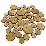 perfk 20/50 Stück Holz-Scheiben Scheiben runde Naturholzscheiben DIY Deko-Holz für DIY Handwerk Hochzeit Weihnachten - Farbe 1, 50pcs 2-4cm