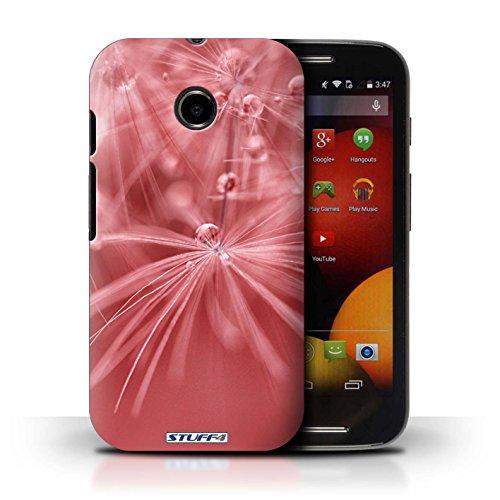 Kobalt® Imprimé Etui / Coque pour Motorola Moto E (2014) / Fleur Vert conception / Série Gouttes de Fées Fleur Rouge