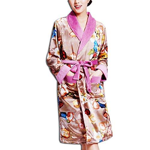 KAXIDY Femme élégant Vêtement de nuit Peignoir de bain Robe de chambre Pyjamas Café (sans capuchon)