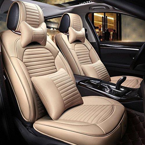 XW Vier Jahreszeiten General Auto Kissen Leder Auto Sitzbezug , Beige,beige (Metall-traktor-sitz-stuhl)