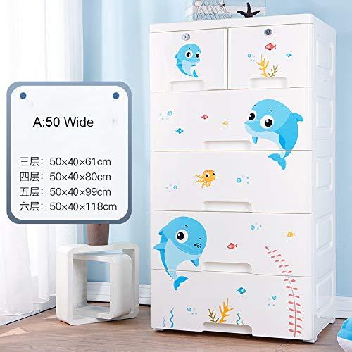 ZYJ Schlafzimmer Kleiderschränke, Cartoon Dolphin Kunststoff Schubladen Typ Schrank Kinderschränke Einfache Garderobe für Kleidung,A,6layers - Dolphin Schublade