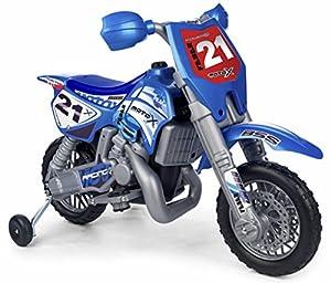 FEBER- Cross X Moto con Motor y batería de 6 v y Casco, Color Negro, Azul, Plata, 3+ (Famosa 800002995)