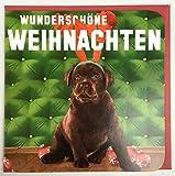 Weihnachtskarte Welpe mit Rentiergeweih Wunderschöne Weihnachten